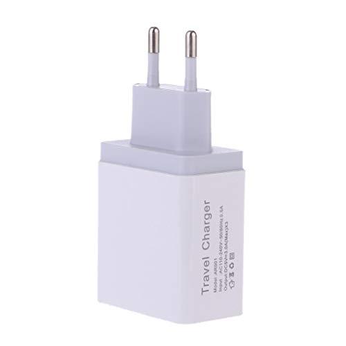 GLASSNOBLE Enchufe de Pared, 1 2 3 Puerto USB 5V 2.4A Cargador de Viaje Adaptador de Corriente Enchufe de la UE para teléfono Tablet PC Blanco