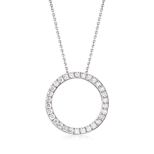 Ross-Simons 2.25 ct. t.w. CZ Open Eternity Circle Pendant Necklace in Sterling Silver For Women 18, 20 Inch 925