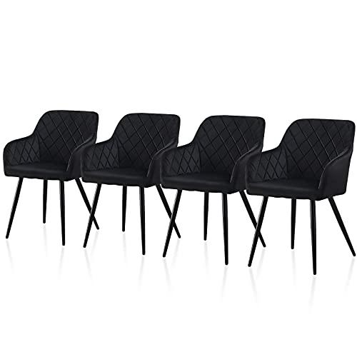 TUKAILAI 4 Stück Esszimmerstühle aus Samt Schwarz, Freizeit-Lounge-Stühlen mit gepolstertem Sitz, Metallbeinen, Armen, Rückenlehne, Wohnzimmer, Esszimmer, Küche