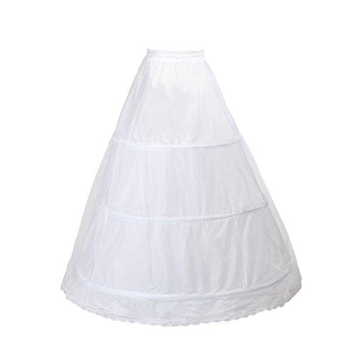 TUKA Enagua 3 Aros, Largo Miriñaque, Crinolina Boda, Aros Ajustable, tamaño L, Conveniente para el EU tamaño 42 - tamaño 52, Blanco, TKB0005-White-X