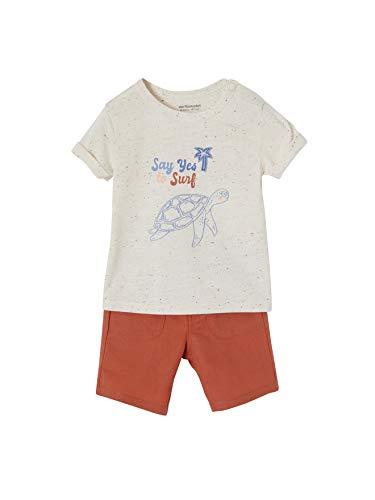 Vertbaudet - Conjunto de camiseta y pantalón corto de lino para bebé (91 cm), color crudo
