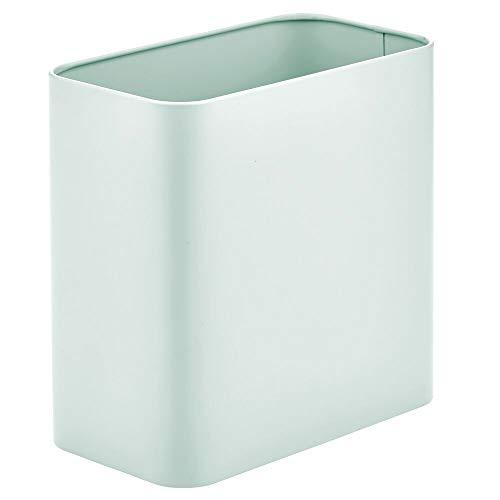 MDESIGN rechteckiger Mülleimer – kompakter Abfalleimer für Bad, Büro und Küche mit ausreichend Platz für den Müll – Papierkorb aus Metall – mintgrün