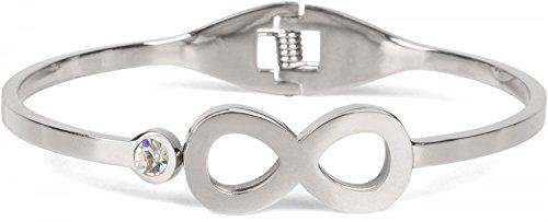styleBREAKER Infinity Armreif aus Edelstahl mit Strass, Klappverschluss Armband, Schmuck, Damen 05040105, Farbe:Silber