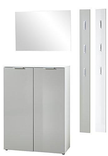 Preisvergleich Produktbild Germania 4-tlg. Garderoben-Set 8418-544 GW-Cetano in Weiß / Seidengrau,  mit Hochglanz Fronten,  150 x 200 x 36 cm (B / H / T)