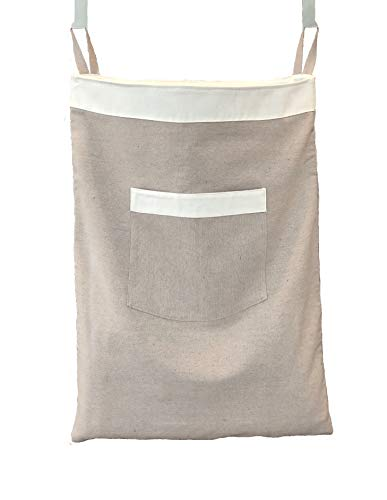BALTIC BLUE Over The Door Hanging Laundry Hamper Bag - 100 Linen - Drawstring Closure with Carry Strap - Hooks NOT Included