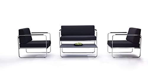 Talfa - Conjunto de muebles de jardín de acero inoxidable con fundas negras - Valencia