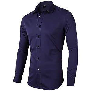 Harrms シャツ ワイシャツ メンズ Yシャツ 長袖 おしゃれ 細身 無地 カラー 15色 ビジネス カジュアル 通勤着 制服