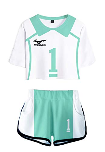 QYIFIRST Anime Aoba Johsai High School Oikawa Tooru Volleyballverein Team Jersey Exposed Nabel T-Shirt Shorts Set Suit Sportswear Cheerleaders Nr.1 Cosplay Kostüm Blau Damen M