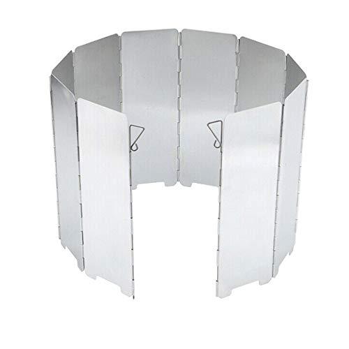 Mintice 10 Platte Outdoor Aluminium Windschutz Faltbar Windschutzscheibe Campingkocher Brennerwindschutzscheibe draussen Camping Wandern Kocher Picknick BBQ Kochen Gasherd Winddicht