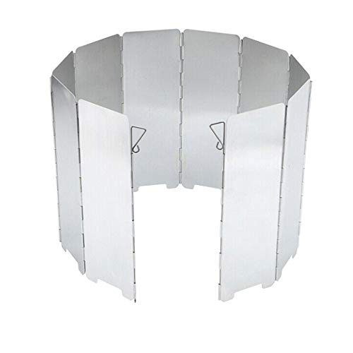 Mintice 10 Platos Plegable Parabrisas del Quemador al Aire Libre cámping Excursionismo Horno Picnic Barbacoa Cocinando Estufa Gas Pantalla Viento a Prueba Aluminio