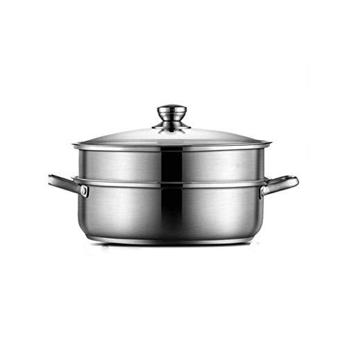 WPYYI 304 Vapor Caliente del Acero Inoxidable Olla BU-shabu hogar Fondo Plano Pot Comercial Cocina de inducción Olla Caliente del pote Especial (Size : 28CM)