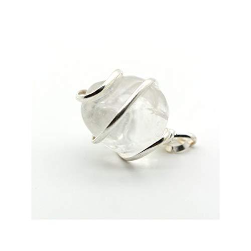 Mineral Import - Colgante Cuarzo Transparente en Espiral Baño Plata 925 - 3219VC