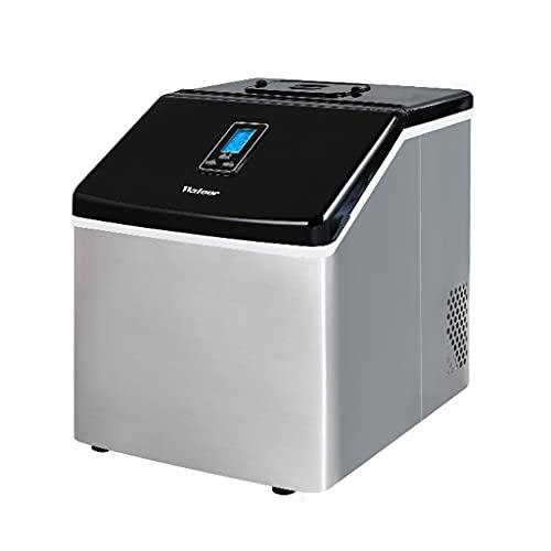 Maquina de hielo De Ahorro De Energía De Acero Inoxidable De 120 W, Máquina De Fabricación De Cubitos De Hielo De Escritorio Smart Touch, Producción De Hielo De 25 Kg Cada 24 Horas