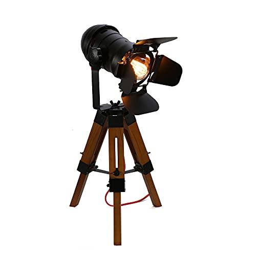 Lámpara retro de diseño industrial, pantalla de metal negro, E27, trípode de pie, para salón, dormitorio, estudio, cafetería, tipo proyector de cine