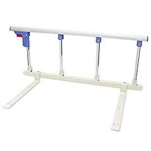 Signstek - Barrera de seguridad para cama plegable, portátil, riel de seguridad para personas mayores, adultos, soporta agarre, barandicap, barandilla de cama de hospital de metal