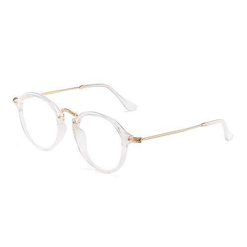 Retro Rund Computer Lesebrille Blaues Licht blockiert Video Spiel Brillen,Ermüdung der Augen Reduzieren Anti Blendung Klar Linse Damen Herren(Klar/Klar)