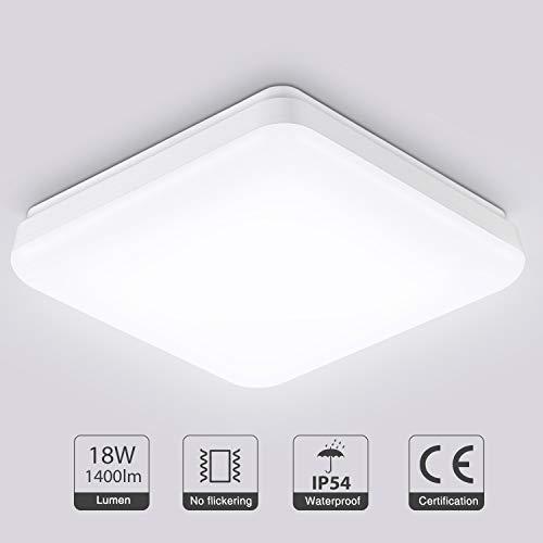 Oeegoo 18W LED Deckenleuchte Bad, 1400Lm Flimmerfreie Deckenlampe, IP54 LED Badleuchte, Schlafzimmerlampe, Küchenlampe Wohnzimmerlampe Balkonlicht, Neutralweiß 4000K
