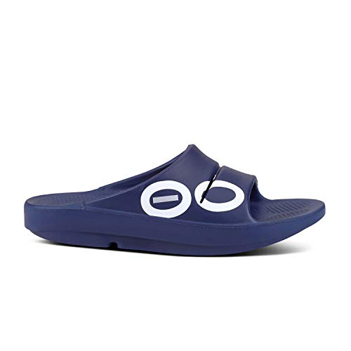 OOFOS - Unisex OOahh Sport - Post Run Recovery Slide Sandal - Navy Sport - M12/W14