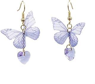 KaFu Bohemia Lightweight Unique Butterfly Wing Earrings Chiffon Fabric Dragonfly Wing Heart Gem Earrings for Women Girls V...