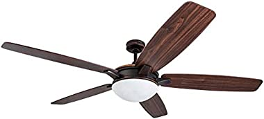 Harbor Breeze Kingsbury 70-in Oil rubbed bronze Indoor Downrod Mount Ceiling Fan with Light Kit and Remote