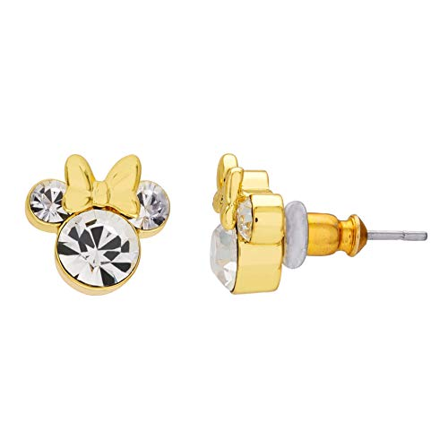 Hermosos pendientes de tuerca de Minnie Mouse para ella, chapados en oro de 14 quilates, corte redondo, transparente D/VVS1 diamante de plata 925