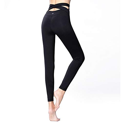 Fit Frenchie High Waisted Tummy Control Yoga Pants Sexy High-Rise Light Compression Slimming Non See Through Workout Legging (Large, Black)