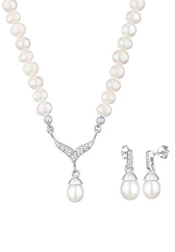Elli Schmuckset Damen Perle mit Swarovski® Kristall in 925 Sterling Silber
