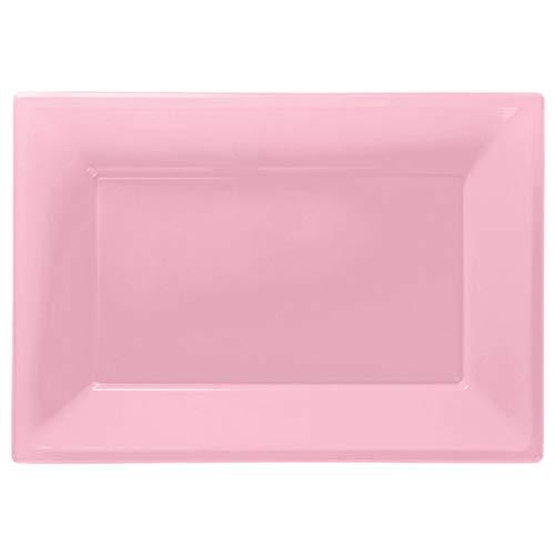 Amscan 997426 Baby Pink Rectangular Plastic Serving Platters - 3 Pcs