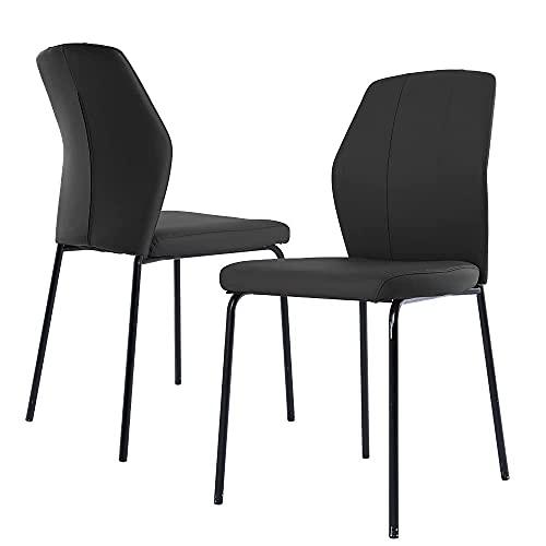 Juego de 2 sillas de comedor modernas, con patas de metal y piel sintética, para cocina, salón, con certificado SGS.