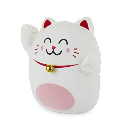 Balvi Cojín Mr Wonderful Lucky Cat Color Blanco Cojín Mr Wonderful Original y Extra Suave con diseño Lucky Cat Cojín Original y Divertido en Forma de Gato Poliéster 40x36 cm