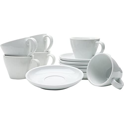 Gastro Spirit - 12-teiliges Doppel Espresso-Tassen Set - Weiß, 180 ml, Porzellan, dickwandig, 6er Set mit Tassen Untertassen - italienisches und zeitloses Design