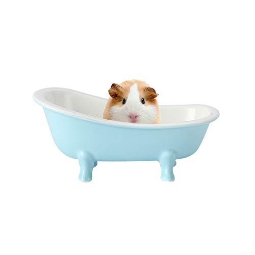 CHENYI Mini Hámster Bañera Jerbos, Cuarto de Baño de Cerámica para Animales Pequeños, Cama de Mascotas para Relajarse, para Conejillos de Indias Ardilla, 16 cm × 9 cm × 5,4 cm, Azul