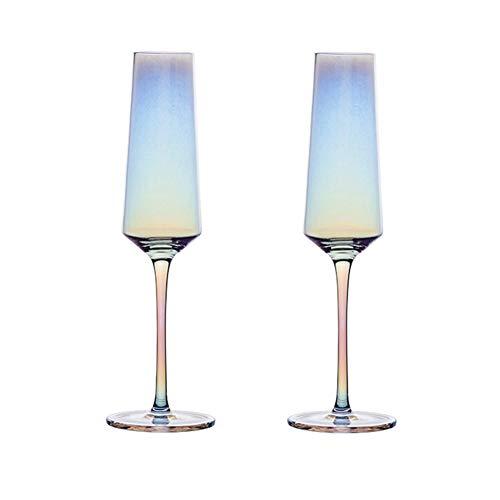 Wly&Home Flautas de champán Conjunto de 2, vidrios de champán de Cristal soplado a Mano -Prosecco Gafas, 100% de Cristal Premium Libre de Plomo, Regalo para Bodas, Aniversario, Navidad,190ml