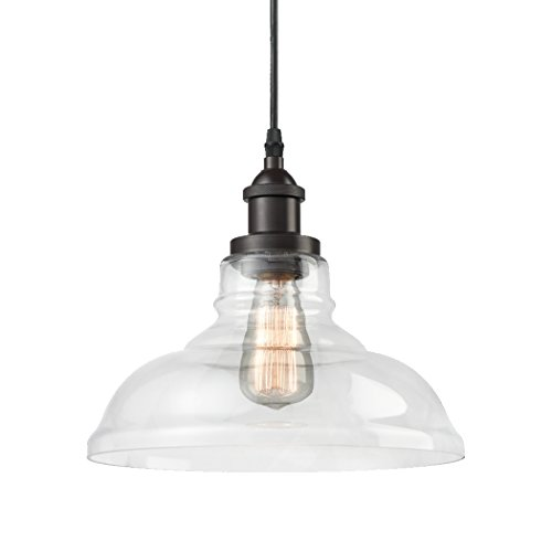 CLAXY Ecopower Industrial Edison Vintage Style 1-Light Pendant Glass Hanging Light Kitchen Island Dining Pendant Lighting