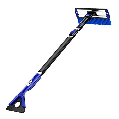 BlackStorm 49' Extendable Snow Brush Shovel Ice Scraper Auto Windshield Snowbrush Long Handle Removal Tool Winter for Car SUV Trucks