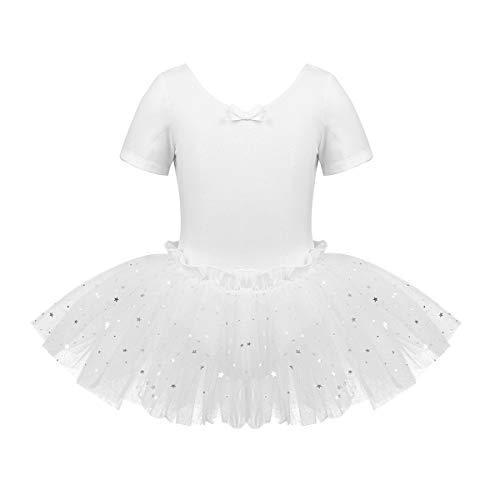 Freebily Tutu Enfant Fille Robe Danse Salsa Latine Dos du Fille Justaucorps Gym Ballet Classique Costume Scène Performance 3-14 Ans (3-4 Ans, Blanc A)