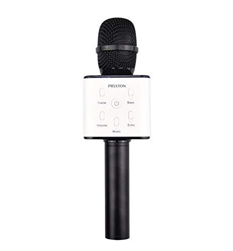 PRIXTON - Micrófono Inalámbrico Profesional, Funciona por Bluetooth y USB, Incluye 2 Altavoces y Función Karaoke, Color Negro