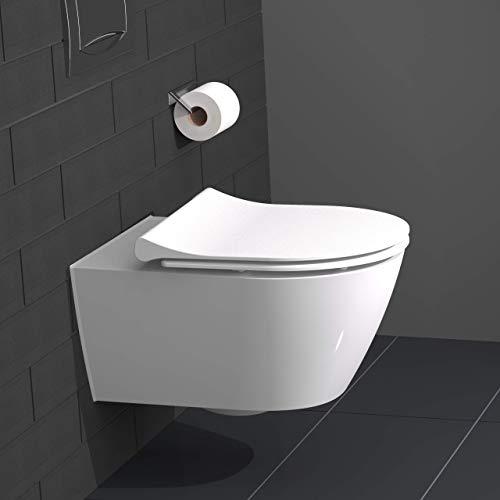 instmaier D-FORM Slim // Duroplast WC-Sitz mit Absenkautomatik // Moderne Slim Form // Schnelle Reinigung durch Schnellverschluss // Toilettendeckel // Einfache Montage // Weiß