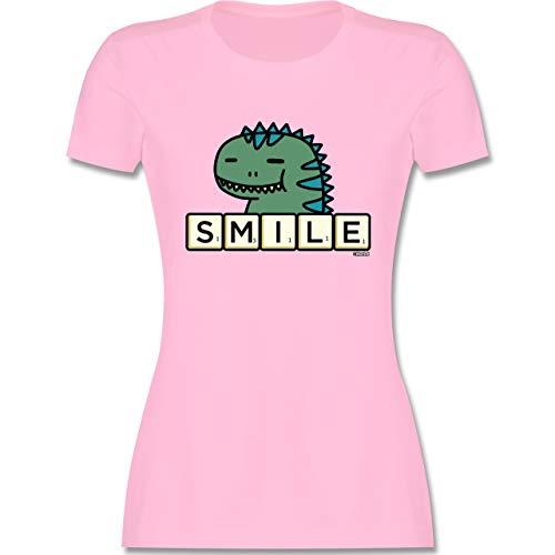 Scrabble Damen - Smile - M - Rosa - Tshirt Dino Damen - L191 - Tailliertes Tshirt für Damen und Frauen T-Shirt