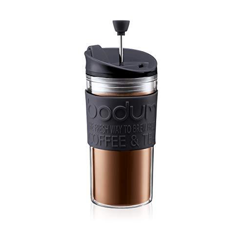 Bodum 11102-01 Travel Press Kaffeebereiter, 0.35 L Reisebecher Kunststoff 8 x 8 x 17 cm, schwarz