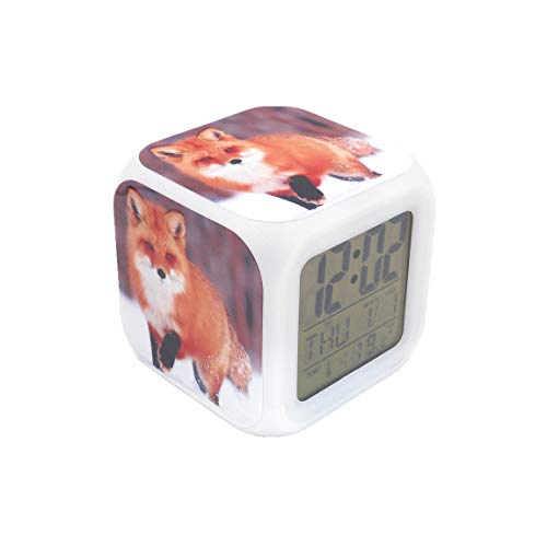 """BoWay 3""""Desk & Shelf Clock Red Fox Animal Digital Alarm Clock with Led Lights Table Clock for Kids Teenagers Adults Home/Office Decor"""