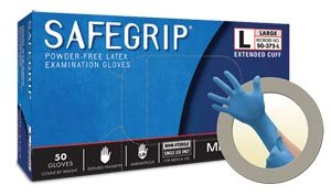 Microflex SG-375 Disposable Latex Gloves Medical / Exam Grade, Long Cuff, Thick Powder Free Glove in Natural Rubber for Cleaning, Sanitary or Mechanic Tasks, Blue, Size Small, Box of 50 Units