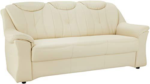 Cavadore 3er Sofa Salona mit Federkern 3-sitzige Couch in Lederoptik, Kunstleder, creme, 201 x 93 x 93 cm