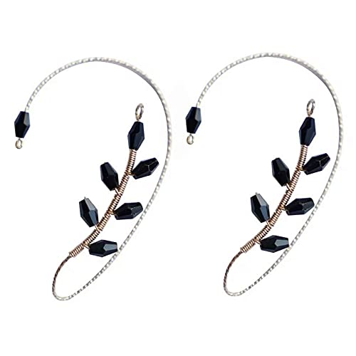 1Pair Vintage Ear Cuff Earrings, Ear Wrap Crawler Hook Earrings Wire Wrapping Beaded Non Piercing Jewelry for Women Girls (Black Crystal)