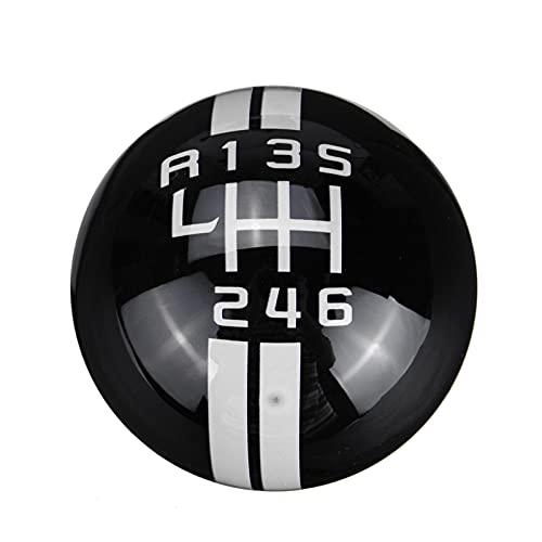 JUSU Store Knob de cambio de engranaje de velocidad universal Ajuste para Ford Fit para Mustang Fit para Peugeot Fit para Mercedes Coche Gear SHIFT KNOB 6 VELOCIDAD ( Color Name : Black white label )