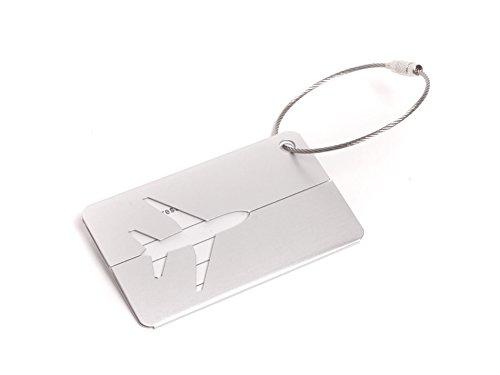 Wingdesign Kofferanhänger mit Flugzeug Silhouette aus Aluminium | Silber | ca. 4 x 4,6 cm | Original EU Marke | DE Händler