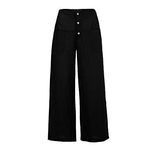 MORCHAN ❤ Femmes Palazzo Taille Haute Jambe Large Culottes Coton Lin Pantalon en Vrac Un Pantalon(5XL,Noir)