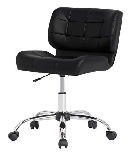 Calico Designs Modern Black Crest Armless Office Chair Swivel Task Chair Desk Chair Computer Chair, Black,
