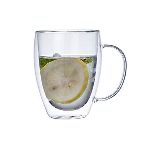 WxberG Doble pared de vidrio aislado con asa, tazas de café o té, vidrio aislado, perfecto para latte, capuchino y té, juego de 2 unidades (tamaño: 250 ml)