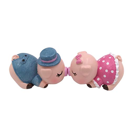 VORCOOL Creative Ornaments Cartoon Car Dashboard Decorations Lovely Kissing Couple Pig Resin Suit